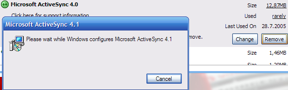 ActiveSync removes which?